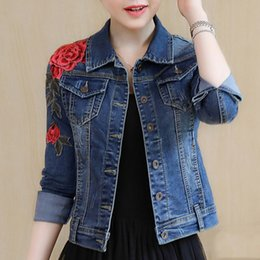 Wholesale New Girls Jeans - Denim Jacket for Wome New Arrival Embroidery Basic Coats Autumn Winter Floral Long Sleeve Female Jeans Coat Casual Skinny Girls Jackets
