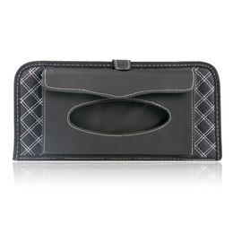 Wholesale Leather Napkin Holder - Wholesale- 2015 New Fashion Microfiber Leather Hanging Tissue Case Car Tissue Box Holder Paper Storage For Car 14 CD Visor Arrangement Case