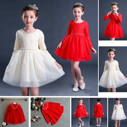 Wholesale Tutus Korea - Baby Kids Clothing 2018 vintage Flower girl dresses Spring Autumn children korea Lace ball gowns Tutu princess costume Chinese Style dress