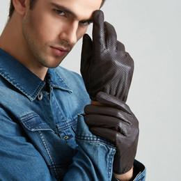 Wholesale Brown Driving Gloves - Free Shipping Men Genuine Leather Gloves Touch Perforated Thin Section Sheepskin Driving Gloves Wrist Winter Male Leather