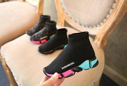 Semelles de filles noires en Ligne-enfants chaussures enfants chaussettes noires avec des semelles colorées chaussures enfants tendance garçons et filles occasionnels tricotés shoessize 21-37