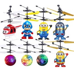 Wholesale light led copter - 9 types RC Drone Flying copter Ball Aircraft Helicopter Led Flashing Light Up Toys Induction Electric Toy sensor Kids Children Christmas