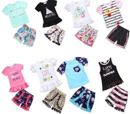 Wholesale Wholesale Boutique Style Clothing - 2018 Summer Girls Baby Childrens Clothing Sets Mermaid tshirts Shorts Pants 2Pcs Set Cotton Fashion Girl Kids Suits Boutique Enfant Clothes