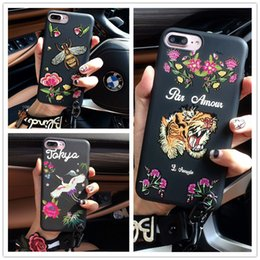 Wholesale Crane Plastics - Fashion Protective Cover Flower Crane Tiger Head Bees Snake Tiger Embroidery cover case for iphone X 8G 7G 6S PLUS