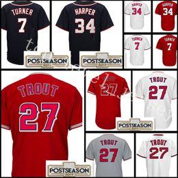 Wholesale Cheap Green Shorts - Men's #27 Mike Trout jersey Cheap 34 Bryce Harper 7 Trea Turner Stitched Baseball Jerseys wholesale Free Shipping