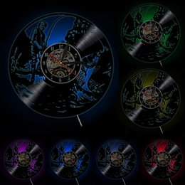 Wholesale Vinyl Records Lp - Wholesale-Free Shipping 1Piece Fishing Silhouette Art Wall Clock With Color Changing LED Light Handmade Vinyl LP Record Clock Art Decor
