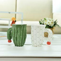 coffee mug shapes NZ - 420ml Creative Plant Shape Tea Mug Cactus Coffee Cup Ceramic Emboss Cartoon Water Drinking Cup Round Handle Gift 1pcs