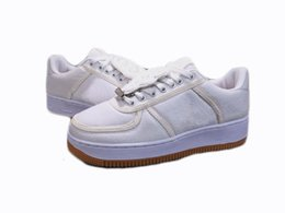 Wholesale canvas paste - Hot! Travis Cute Forced 1 Skateboard Shoes With 3M Reflective Magic Paste Replacement Hook Men Women Pure White Sneakers