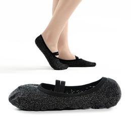 Ballett silber online-Silberne Draht-Yoga-Socken-schwarze Anti-Rutsch-dämpfende Bandage Pilates-Ballett-Socken-Griff-Frauen-Baumwollstanz-Socken G519S