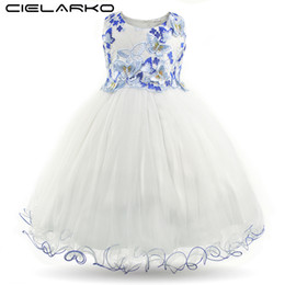 Wholesale White Knee Length Frocks - Cielarko Girls Dress Butterfly Kids Flower Dresses Appliques Mesh Children Wedding Party Frocks Formal Baby Gowns for Girl