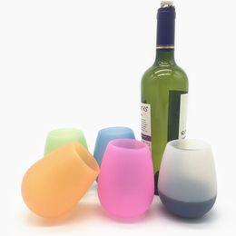 2019 café gläser Silikon Wein Tasse Gläser unzerbrechlich Premium Food Grade Stemless Trinkbecher Geschirrspüler Cafe recyclebar Gummi Wein Gläser Drinkware günstig café gläser