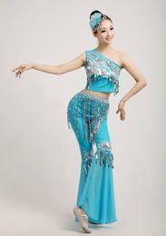 paon élasthanne Promotion 2018 New Dai Dance Costumes Adulte Fish Tail Jupe Choi Wan Sud Modern Peacock Dance Compétition Vêtements