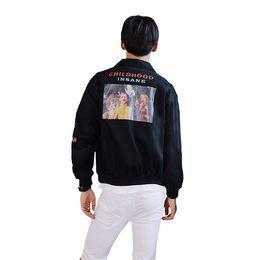 2018 Spring Korea Ropa de Hombre CHILDHOOD GIVE DREAM Chaqueta con estampado de patrón College Student Style Casual Abrigos holgados Ropa de abrigo desde fabricantes