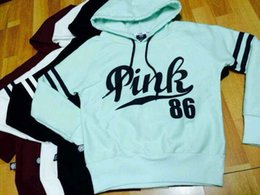 Wholesale Thick Pink Hoodie - 2018 New Fashion Pink Letter Pullover Women's Hoodies Gray Pink White Black Long Sleeves Cotton Blend Women Sweatshirts FS2447