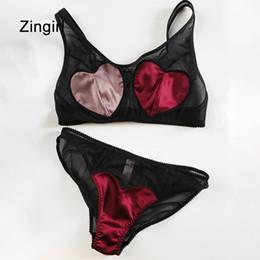 Wholesale Vintage Bra 32a - Zingirl Silk Vintage Fashion Basic Lingerie Sets Heart Chic Patchwork Underwear Intimates Sexy Adjustable Strap Mesh Bra Sets