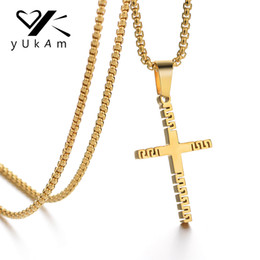 polished stainless necklace cross Promo Codes - YUKAM Delicate High Polish Gold Hollow Cross Pendant Necklaces for Women Men Stainless Steel Jesus Cross Choker Necklace Jewelry