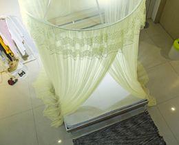 mosquito net fabric Australia - PatridgeSky Elegant Hung Dome Mosquito Net Avoid Zika Virus Malari Mesh Fabric Gold Pink Suit All Size Bed Summer Mosquito Nets