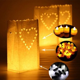 Sacchetti di carta per candele online-Wedding Heart Tea Light Holder Luminaria Lanterna di carta Portacandele Home Romantico Decorazione per feste di nozze