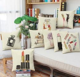 Wholesale plain perfume - Perfume bottles Lipstick digital dyeing design pillowcase Fashion girl waist linen cushion cover Office nap pillow cases