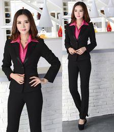 Wholesale Women Working Suits Design - New 2015 Fashion Uniforms Design Autumn Winter Formal Office Work Wear Suits With Pant Pantsuits Business Women Clothing Set