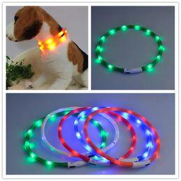 collari per cani usb Sconti più recente Cut USB carica collare di addestramento del cane LED caricatore luminoso esterno Collari per cani Pet luce regolabile 6 colori LED collare lampeggiante cane