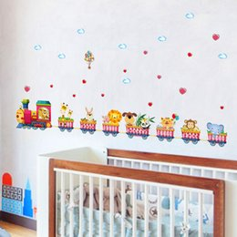 Wholesale Train Wall Art - [Fundecor] cartoon animal train wall stickers for kids rooms nursery baby children bedroom home decoration art decals