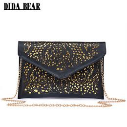 Wholesale Bear Clutch Bag - DIDA BEAR CrossBody Hollow Out Messenger Shoulder Bag WOMEN Envelope Bag Lady Clutches Purse with Chain Bolsos Bolsas Sac A Main