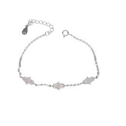 Braccialetti d'argento disegni per le ragazze online-100% 925 sterling silver design design tre cz hamsa fascino della mano ragazza delicata gioielli delle donne sparling braccialetto hamsa mano