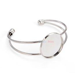 Wholesale Silver Plated Pendant Trays - whole sale20Pcs Antique Bronze Color 25mm Photo Pendant Cuff Bracelet Blanks Bezel Bangles For Jewelry DIY Bracelet Trays