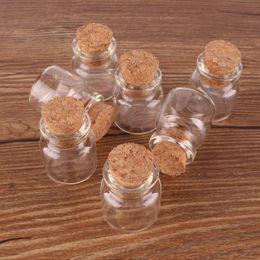 Wholesale wholesale tiny glass bottle vials - 100pcs 22*25*12.5mm 4ml Mini Glass Wishing Spice Bottles Tiny Jars Vials With Cork Stopper pendant crafts wedding gift