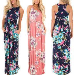 27b7cd0cade lange sommerkleider xxxl Rabatt Sommer langes Kleid Blumendruck Boho Strand  Kleid Tunika Maxi Kleid Frauen Abendgesellschaft