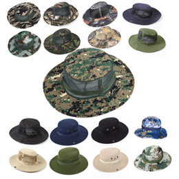 Wholesale Military Style Caps Hats - 32 Styles Summer Outdoor Military Camo Fishing Mesh Hat Hunting Bucket Hats With Adjustable Strap Beach Cap Free DHL G667F