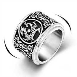 Wholesale Rings Hipsters - Hipster titanium steel ring turnable four chinese ancient beast anmial titanium steel jewelry unique design personalized men accessory
