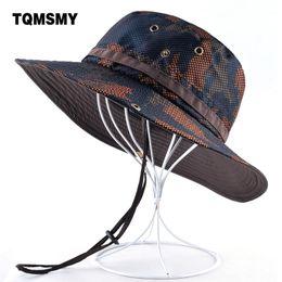 11dc77efe4bf7 TQMSMY Camouflage hat men Outdoor Fishing cap Wide Brim Anti-UV caps for women  sun hats Summer Quick dry mesh hat gorro bone