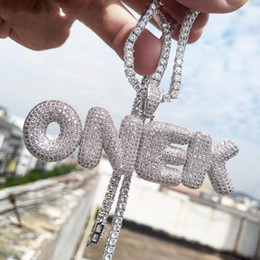 Wholesale gold plated letters - A-Z Custom Name Bubble Letters Necklaces & Pendant Charm For Gold Silver Gold Rose Color Cubic Zircon Rope Chain Hip Hop Jewelry Gifts