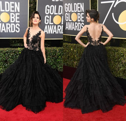 Wholesale Red Line Tires - 2018 Laura Marano 75th Annual Golden Globe Awards Celebrity Evening Dresses Sheer Lace Appliqued Tired Tulle Formal Red Carpet Party Gowns