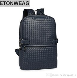 Wholesale Blue Contracts - Origi Wind leisure knitting factory wholesale brand mens bags college backpack traveling fashion retro contracted brand leather woven men ba