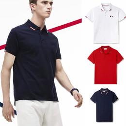 Wholesale solid white tee - 18 men polos brand summer crocodile embroidery Polo Shirt Men Short Sleeve Casual Shirts Man's Solid Polo Shirt Plus men tees Camisa Polo