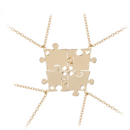 Wholesale circle puzzle - Best Friends Necklace Set For 4 Family Interlocking Jigsaw Puzzle Pendant Necklace Friendship Jewelry BFF Necklaces