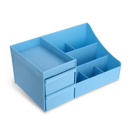 Wholesale Large Jewelry Storage - Large Makeup Organizer Cosmetic Storage Display Boxes with Drawers (Blue)