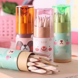 2019 mini apontadores de lápis Mini lápis de cor bonito natural madeira arte desenho pintura esboçar conjuntos de lápis com apontador de lápis tampas crianças presentes de papelaria mini apontadores de lápis barato