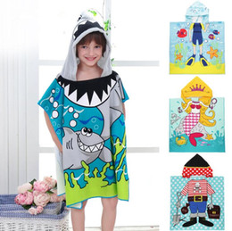 Wholesale baby hooded bath towels - baby Bath Towel Micro Fiber Material Kid Cartoon Print Hooded Cloak Bathing Swimming Towels Hooded Cloak Beach Towel KKA4336