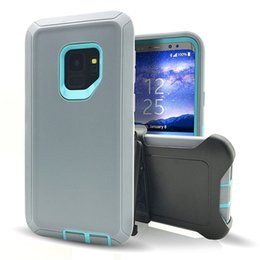 Wholesale Military Shipping Case - For Samsung Galaxy S9 Hybrid Heavy Duty Defender Cell Phone Cases Armor Military Grade Shockproof Defender Cases Beit Clip DHL Free Shipping