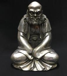 Placas de latão velhas on-line-Antiguidade diversos Antigo antigo latão bronze banhado a prata Bodhidharma casa casa exorcizar riqueza nafu seguro