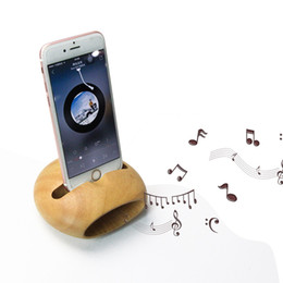 Wholesale Iphone Music Stand - Chargable bamboo holder for mobile phone, universal wood amplifier cellphone charger speaker music display charging stands