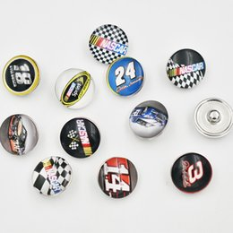 Wholesale Racing Charms - Mixed Ginger Snap Jewelry Racing Snap Button 18mm Glass Snap Charms Fit For DIY Jewelry