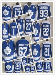 Wholesale Hot Johnny - 2018 Hot sale New Jersey17 Wendel Clark Doug Gilmour throwback jersey Johnny Bower Darryl Sittler Borje Salming Tim Horton Hockey Jersey