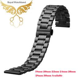 2019 черные металлические наручные часы Часы диапазона 18мм 20мм 22мм 24мм 26мм 28мм 30мм черный нержавеющая сталь Мужские металлические браслеты ремешок для часов дешево черные металлические наручные часы