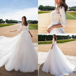 Wholesale Strapless Lace Wedding Dress Jacket - Gorgeous Milla Nova Wedding Dress with Long Sleeve Robe Jacket Two Pieces A-Line Strapless 3D Floral Beaded Sweep Train Princess Bridal Gown