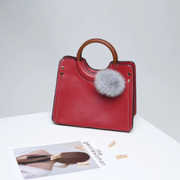 Wholesale Two Rings Balls - Classic ladies fashion solid color casual ring handbag shoulder bag Messenger bag with hair ball pendant. 3329 #